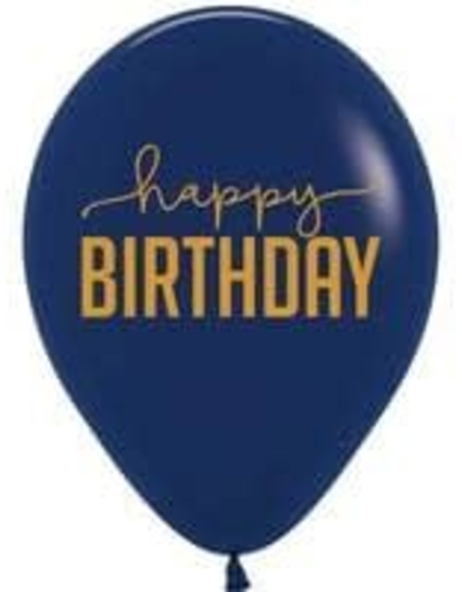 "12"" Navy Blue and Gold ""Happy Birthday"" Latex Singles"