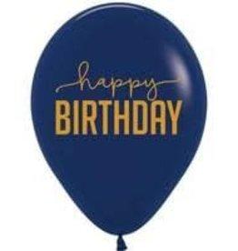 "12"" Navy Blue and Gold ""Happy Birthday"" Latex Singles"
