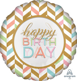 Large Happy Birthday Chevron Foil Balloon 28""