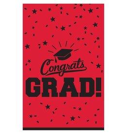"""Red """"Congrats Grad !"""" Plastic Rectangular Tablecloth 54"""" x 84"""""""