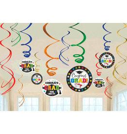 Multi-Coloured Grad Hanging Swirl, 12ct