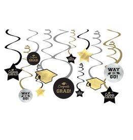 "Gold and Black ""Congrats Grad!"" Swirls, 12pk"