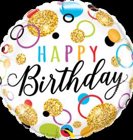 """Birthday Glitter Dots Foil Balloon 18"""""""