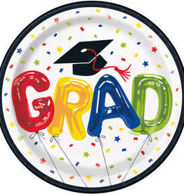 "Grad Bubble Balloon 7"" Plate, 8ct"