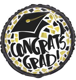 """Black & Gold Congrats Grad Round Foil Balloon 18"""""""