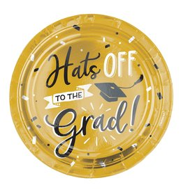 Grad Hats Off! Metallic Round Plates, 7""