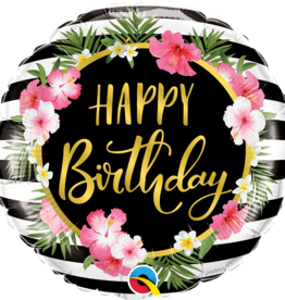 """""""Happy Birthday"""" Flowers And Stripes 18"""" Foil Balloon"""