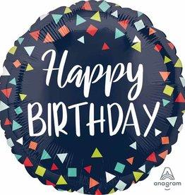 "Royal Blue ""Happy Birthday"" Triangle Confetti Foil Balloon 18"""