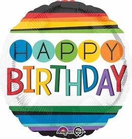 """Rainbow  'Happy Birthday' Foil Balloon 18"""""""