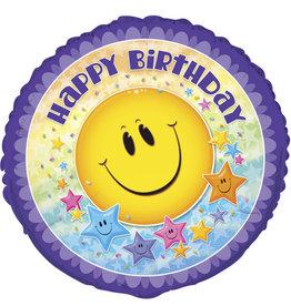"Happy Face Birthday Foil Balloon 18"""