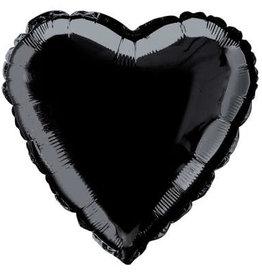 "Black Solid Heart Foil Balloon 18"""