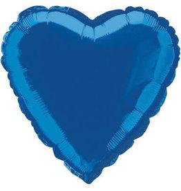 "Royal Blue Solid Heart Foil Balloon 18"""