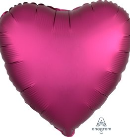 "Pomegranate Satin Matte Luxe Heart Foil Balloon 18"""