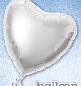 "Silver Heart Foil Balloon 18"""