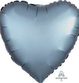 """Blue Satin Matte Luxe Heart Foil Balloon 18"""""""