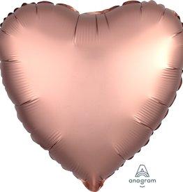 """Rose Gold Satin Matte Luxe Heart Foil Balloon 18"""""""
