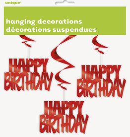 Red Happy Birthday Swirls 3ct