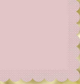 Pastel Pink Luncheon Napkins with Gold Foil Stamped Edge,16ct