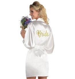 'Bride' White Satin Robe