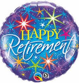 "'Happy Retirement' Colorful Bursts Foil Balloon 18"""