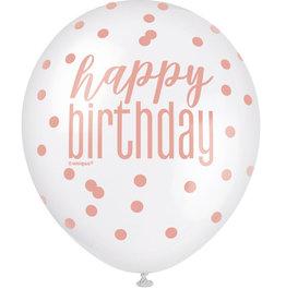 Rose Gold & White Happy Birthday Printed Latex 6ct