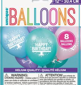 "'Happy Birthday' Pastel Colour 12"" Latex Balloons, 8ct"