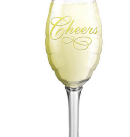"""'Cheers' Champagne Glass Foil Balloon 38"""""""