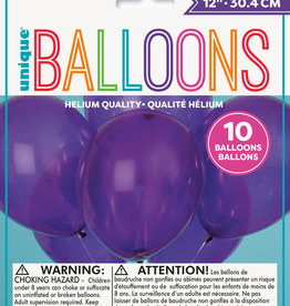 "12"" Latex Balloons 10ct - Amethyst Purple"