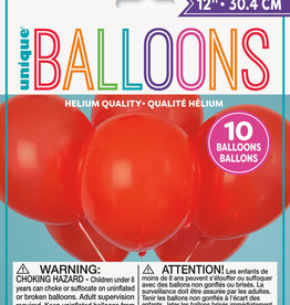 """12"""" Latex Balloons 10ct - Ruby Red"""