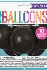 "12"" Latex Balloons 10ct - Jet Black"