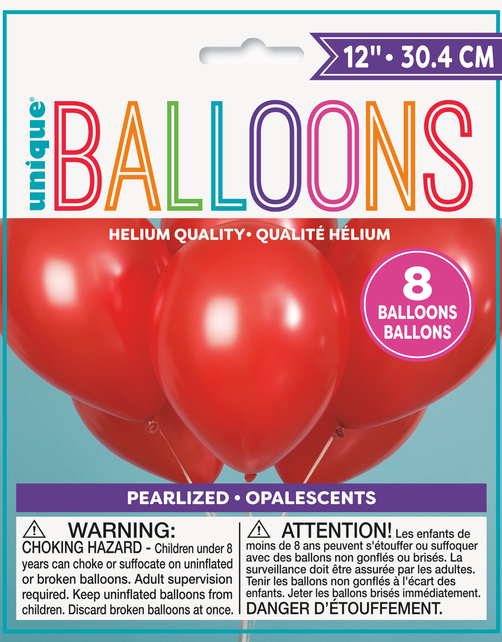 """12"""" Latex Pearlized Balloons 8ct - Frost Red"""