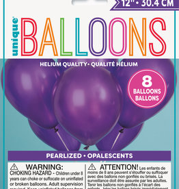 """12"""" Latex Pearlized Balloons 8ct - Concord Purple"""