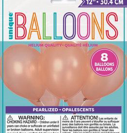 "12"" Rose Gold Latex Balloons 8ct"