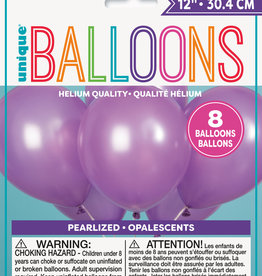 """12"""" Latex Pearlized Balloons 8ct - Lavender"""