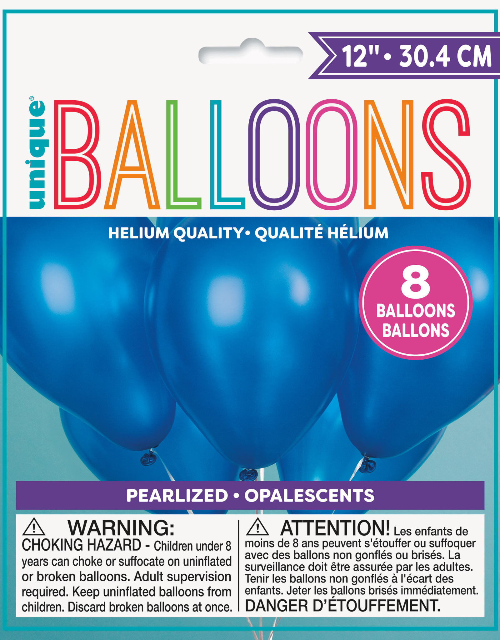 """12"""" Latex Pearized Balloons 8ct - Sapphire Blue"""