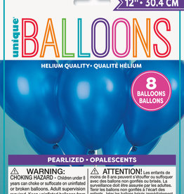 "12"" Latex Pearized Balloons 8ct - Sapphire Blue"