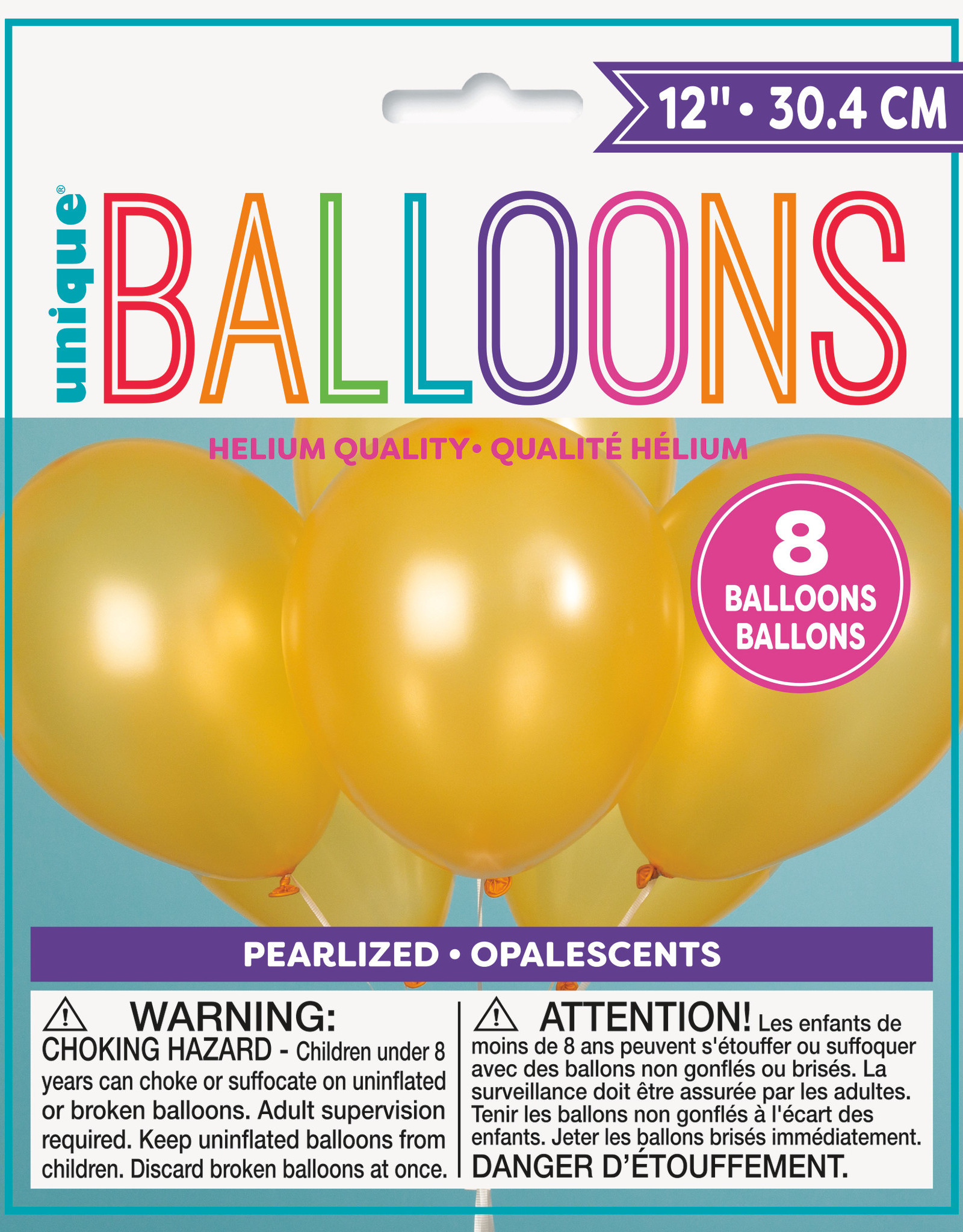"12"" Latex Pearlized Balloons 8ct - Gold"