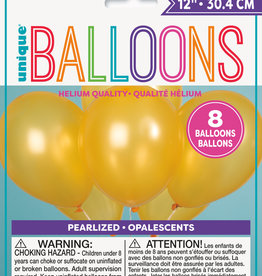 """12"""" Latex Pearlized Balloons 8ct - Gold"""
