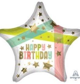 "Happy Birthday Pastel Star Foil Balloon 18"""