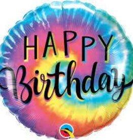 "Birthday Tie Dye Swirls Foil Balloon 18"""
