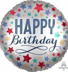 "Happy Birthday Stars Foil Balloon 18"""