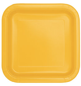 "Sunflower Yellow 9"" Square Plates, 14ct"