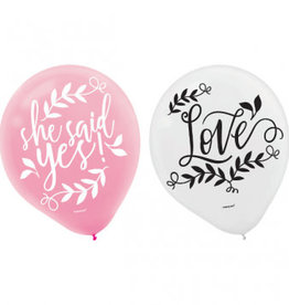 """Love And Leaves Latex Balloons 15ct, 12"""""""