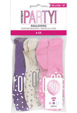 Pink, Purple & White 80th Latex Balloons, 6pk