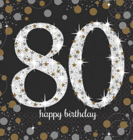 80th Birthday Black and Gold Luncheon Napkins, 16ct