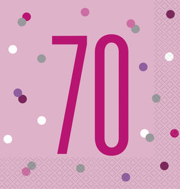 Pink and White '70' Luncheon Napkins 16ct