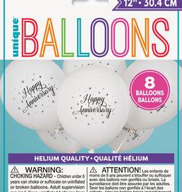 """White """"Happy Anniversary"""" 12"""" Latex Balloons, 8ct"""