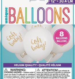 White 'Oh Baby' Latex Balloons, 8pk