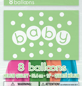 'Baby' Latex Balloons, 8pk