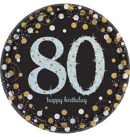 "80th Birthday Dessert Plates 8ct, 7"""
